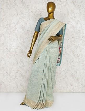 Aqua silk saree for wedding
