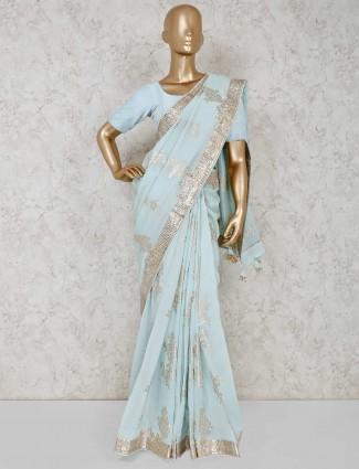 Aqua silk saree in wedding occasion