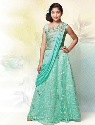 Aqua silk wedding wear lehenga choli