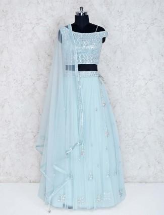 Aqua wedding wear designer net lehenga choli
