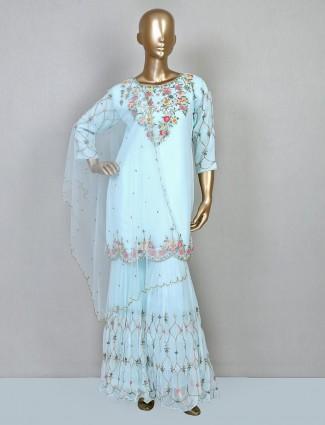 Aqua wedding wear sharara suit in georgette