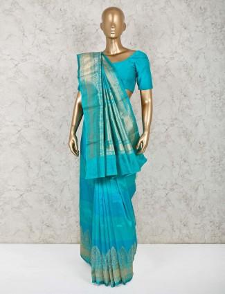 Aqua zari weaved pure silk saree