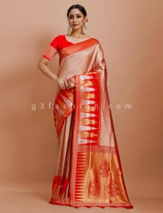 Art kanjivaram pink and red wedding wear designer saree