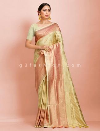 Art kanjivaram silk wedding wear light yellow with contrast border saree
