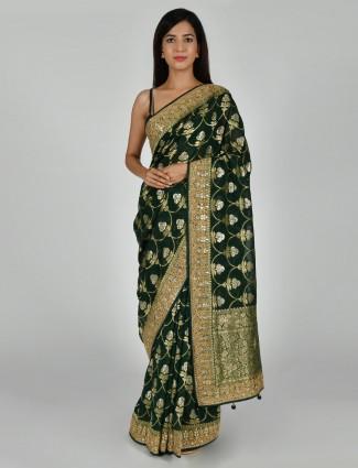 Art khadi silk adorable bottle green saree