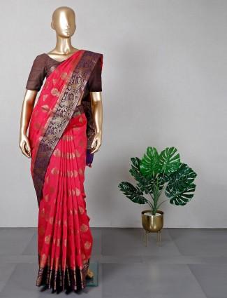 Attractive magenta pink banarasi cotton silk festive wear saree