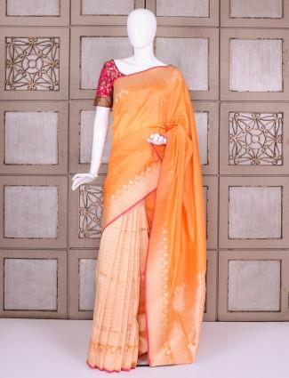 Attractive orange banarasi silk saree