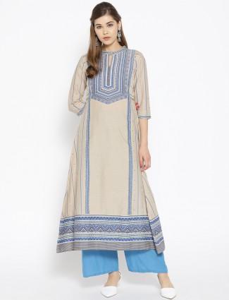 Aurelia beige hue casual wear cotton kurti