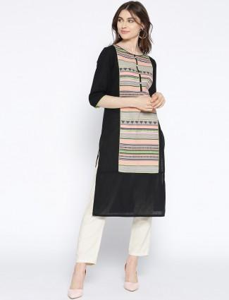 Aurelia black color round neck cotton kurti