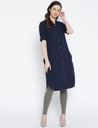 Aurelia cotton fabric casual kurti in navy blue