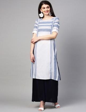 Aurelia cotton white colour quarter sleeves kurti