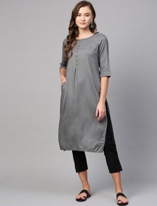 Aurelia grey cotton silk thread weaving kurti
