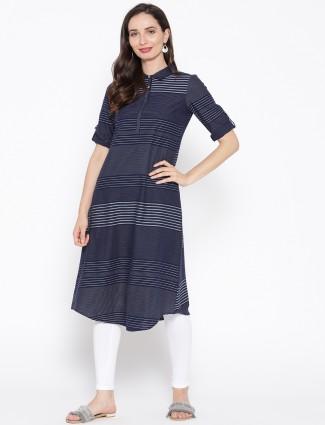 Aurelia navy blue cotton fabric casual kurti