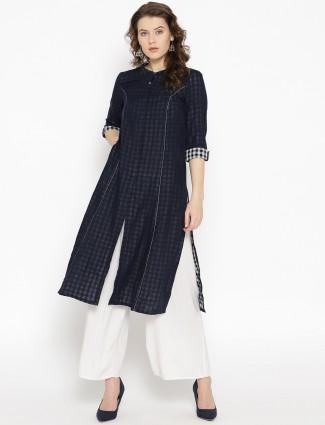 Aurelia navy blue cotton fabric pretty kurti