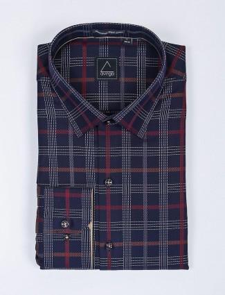 Avega checks pattern navy mens shirt