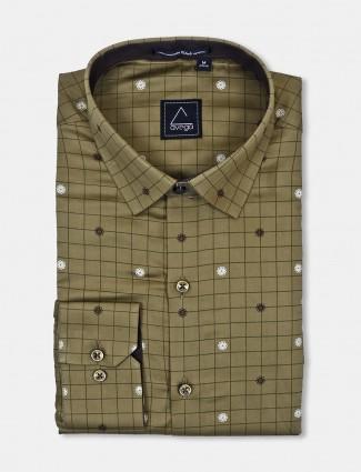 Avega cotton fabric olive checks shirt