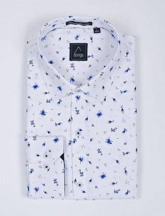 Avega cotton fabric printed white shirt
