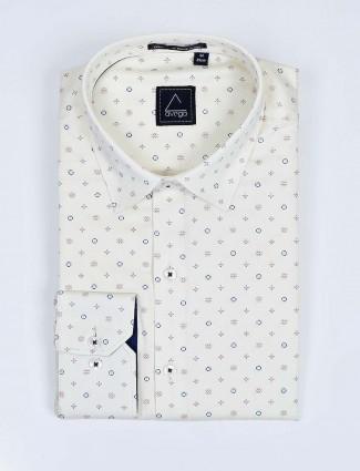 Avega cream printed cotton fabric shirt