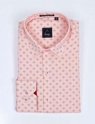 Avega full sleeves peach color printed shirt