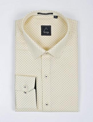 Avega lemon yellow polka dot printed shirt