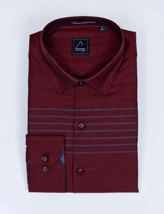 Avega maroon hue stripe cut awaya collar shirt
