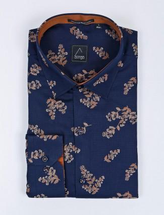Avega navy hue flower printed shirt