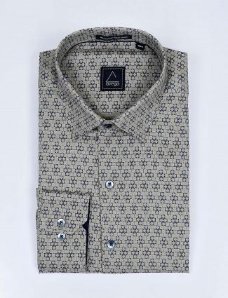 Avega olive color printed mens shirt