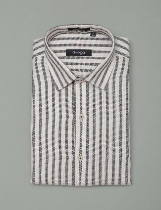 Avega white hue cotton stripe shirt