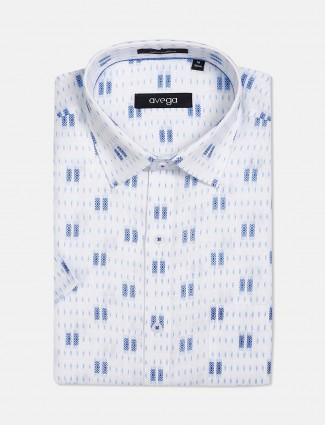 Avega white printed cotton mens shirt