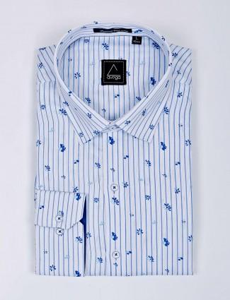Avega white stripe pattern formal shirt