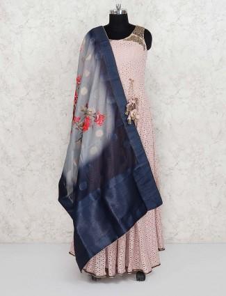 Baby pink color hakoba cotton wedding designer salwar suit