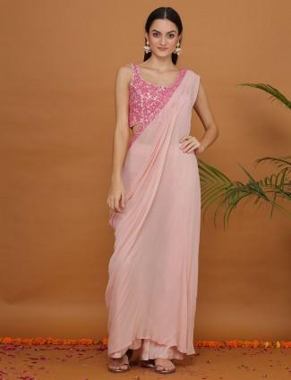 Baby pink designer u neck palazzo suit in georgette