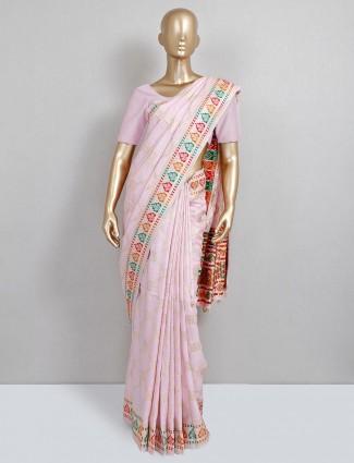 Baby pink dola silk saree design