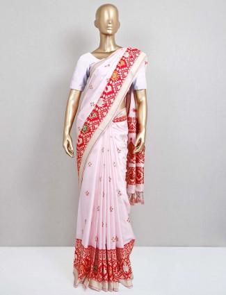 Baby pink festive saree in patola silk