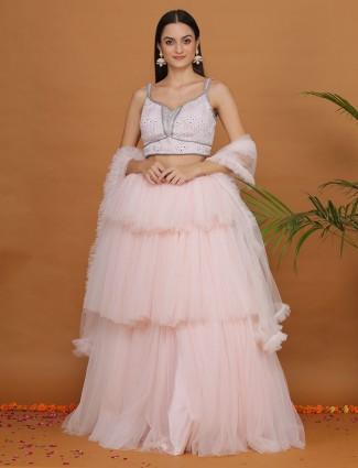 Baby pink net layer style flair lehenga choli