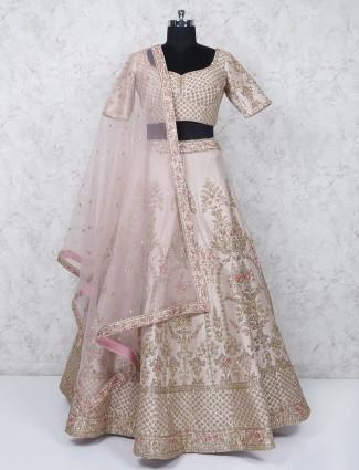 Baby pink silk fabric wedding wear lehenga choli