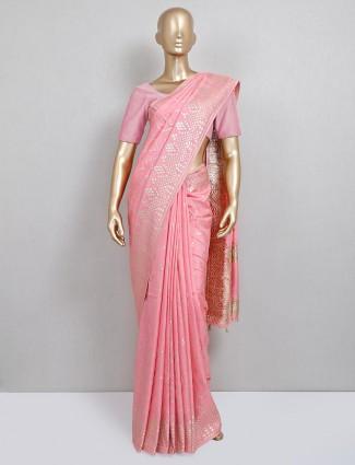 Baby pink wedding saree design in dola silk