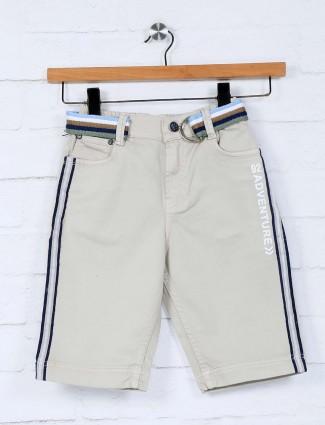 Bad Boys beige solid cotton slim fit short