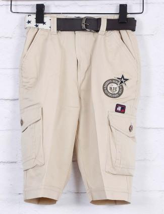 Bad Boys cream hued cotton solid short