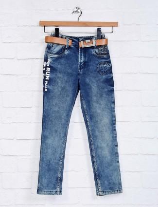 Bad Boys纯色蓝色弹性合身牛仔裤