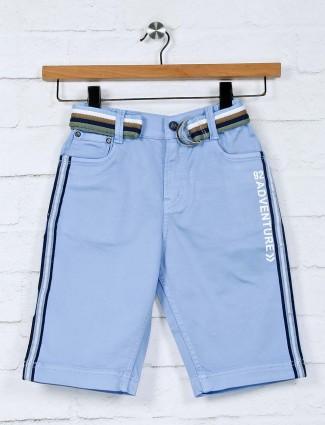 Bad Boys solid sky blue cotton short