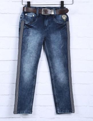Badboys dark navy hued solid jeans