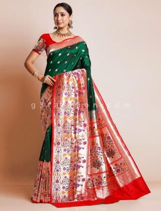 Banarasi paithani silk bottle green wedding wear saree