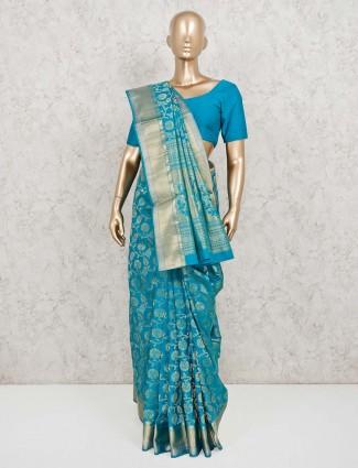 Banarasi pure silk blue saree for wedding occasion