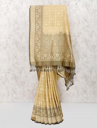 Banarasi semi silk saree in beige color for wedding