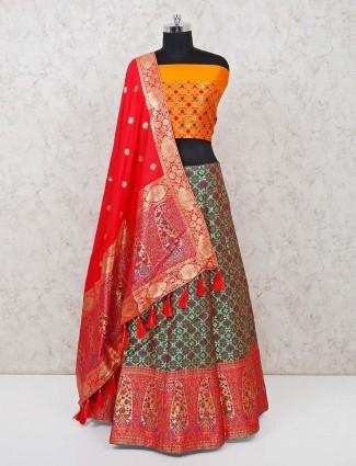 Banarasi silk green semi stitched lehenga choli