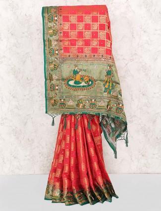 Banarasi silk magenta color designer saree