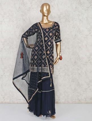Banarasi silk navy punjabi sharara suit