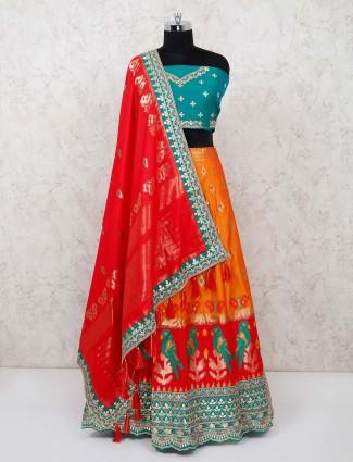 Banarasi silk orange weddin semi stitched lehenga choli