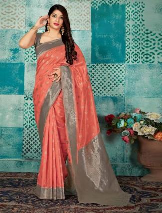 Banarasi silk peach saree with matching blouse piece
